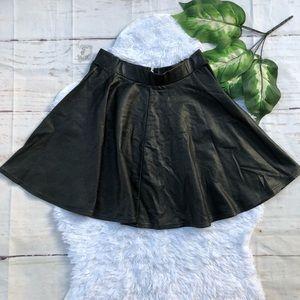 Topshop Black Vegan Leather Skater Skirt 6